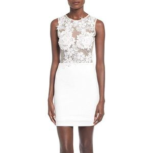 Misguided Sheer White Dress with Floral Appliqués